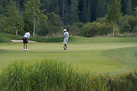 Teenage men putt during a round of golf on Nicklaus North golf course in Whistler, BC Canada.