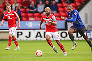 Walsall's captain Adam Chambers on the ball during the Sky Bet League 1 match between Walsall and Bury at the Banks's Stadium, Walsall, England on 5 September 2015. Photo by Shane Healey.