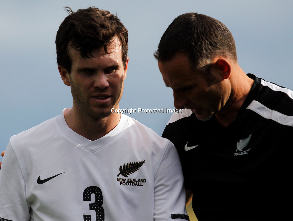 NZ's Ian hogg comes off following an injury. OFC Men's Olympic Qualifier New Zealand 2012, New Zealand v Papua New Guinea, Owen Delany Park Taupo, Friday 16th March 2012. Photo: Shane Wenzlick