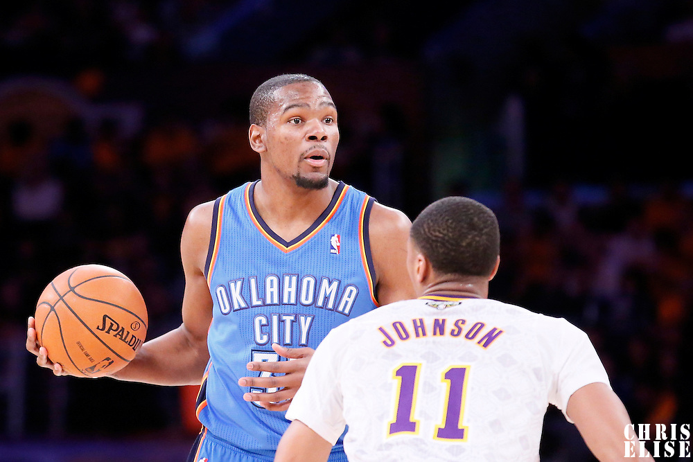 09 March 2014: Oklahoma City Thunder small forward Kevin Durant (35) looks to pass the ball during the Los Angeles Lakers 114-110 victory over the Oklahoma City Thunder at the Staples Center, Los Angeles, California, USA.