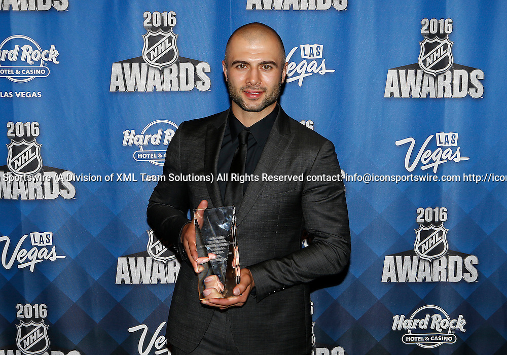 2016 June 22: Calgary Flames captain Mark Giordano poses for a photograph after receiving the NHL Foundation Player Award during the 2016 NHL Awards at the Hard Rock Hotel and Casino in Las Vegas, Nevada. (Photo by Marc Sanchez/Icon Sportswire)