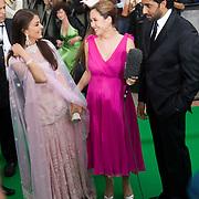 SHEFFIELD, UNITED KINGDOM - 9th June 2007: Newlywed actors Bollywood actors Abhishek Bachchan and Aishwarya Rai interviewed by Myleene Klass at International Indian Film Academy Awards (IIFAs) at the Sheffield Hallam Arena on June 9, 2007 in Sheffield, England.