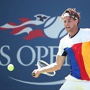 2017 U.S. Open Tennis Tournament - DAY THREE. Dominic Thiem of Austria in action against Alex de Minaur of Australia during the Men's Singles round one match at the US Open Tennis Tournament at the USTA Billie Jean King National Tennis Center on August 30, 2017 in Flushing, Queens, New York City. (Photo by Tim Clayton/Corbis via Getty Images)