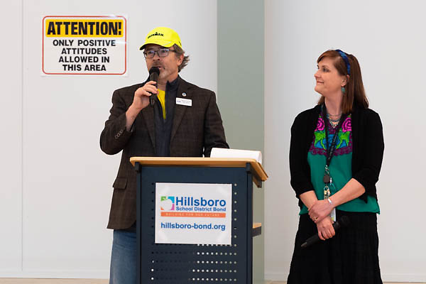Hillsboro school district board member Martin Granum spoke while principal Lindsay Garcia looks on during a ribbon cutting ceremony in the new gymnasium at Eastwood Elementary School in Hillsboro, Ore., on Tuesday, Feb. 4, 2020.