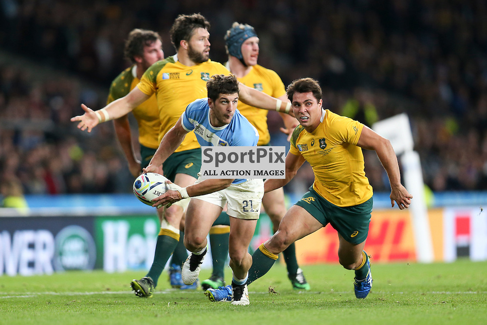 TWICKENHAM, ENGLAND - OCTOBER 25: replacement scrum half Tomas Cubelli of Argentina during the 2015 Rugby World Cup semi-final two match between Argentina and Australia at Twickenham Stadium, London on October 25, 2015 in London, England. (Credit: SAM TODD | SportPix.org.uk)