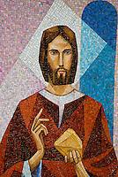 Ticino, Southern Switzerland. Modern mosaic of Jesus.