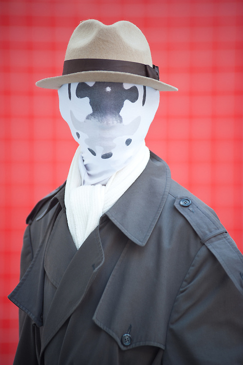 London, UK - 26 May 2013: David Mcghee dressed as Rorschack of Watchman poses for a picture during the London Comic Con 2013 at Excel London. London Comic Con is the UK's largest event dedicated to pop culture attracting thousands of artists, celebrities and fans of comic books, animes and movie memorabilia.