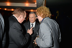 Left to right, ANDREW NEIL, SIR MARTIN SORRELL and MICK HUCKNALL at the 3rd birthday party for Spectator Life magazine hosted by Andrew Neil and Olivia Cole held at the Belgraves Hotel, 20 Chesham Place, London on 31st March 2015.