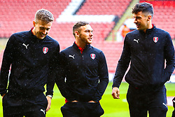Will Vaulks of Rotherham United Jon Taylor of Rotherham United and Joe Newell of Rotherham United chat on the pitch at Bramall Lane - Mandatory by-line: Ryan Crockett/JMP - 09/03/2019 - FOOTBALL - Bramall Lane - Sheffield, England - Sheffield United v Rotherham United - Sky Bet Championship