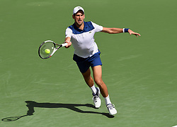 March 11, 2018 - Indian Wells, CA, U.S. - INDIAN WELLS, CA - MARCH 11: Novak Djokovic (SRB) chases a ball in the second set of a match played at the BNP Paribas Open on March 11, 2018 at the Indian Wells Tennis Garden in Indian Wells, CA. (Photo by John Cordes/Icon Sportswire) (Credit Image: © John Cordes/Icon SMI via ZUMA Press)