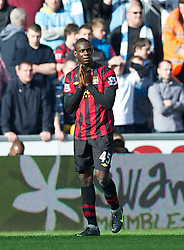 SWANSEA, WALES - Sunday, March 11, 2012: Manchester City's Mario Balotelli looks dejected after not being awarded a penalty against Swansea City during the Premiership match at the Liberty Stadium. (Pic by David Rawcliffe/Propaganda)