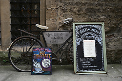UK ENGLAND OXFORD 30MAR14 - Bicycle used as shop advertising for Vaults & Garden Cafe in Oxford, England.<br /> <br /> jre/Photo by Jiri Rezac<br /> <br /> © Jiri Rezac 2014