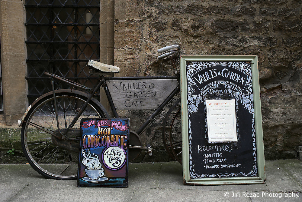 UK ENGLAND OXFORD 30MAR14 - Bicycle used as shop advertising for Vaults &amp; Garden Cafe in Oxford, England.<br /> <br /> jre/Photo by Jiri Rezac<br /> <br /> &copy; Jiri Rezac 2014