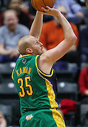 Feb. 21, 2012; Indianapolis, IN, USA; New Orleans Hornets center Chris Kaman (35) shoots the ball against the Indiana Pacers at Bankers Life Fieldhouse. Indiana defeated New Orleans 117-108. Mandatory credit: Michael Hickey-US PRESSWIRE