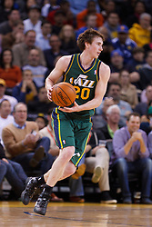 Feb 2, 2012; Oakland, CA, USA; Utah Jazz shooting guard Gordon Hayward (20) dribbles the ball against the Golden State Warriors during the second quarter at Oracle Arena. Golden State defeated Utah 119-101. Mandatory Credit: Jason O. Watson-US PRESSWIRE