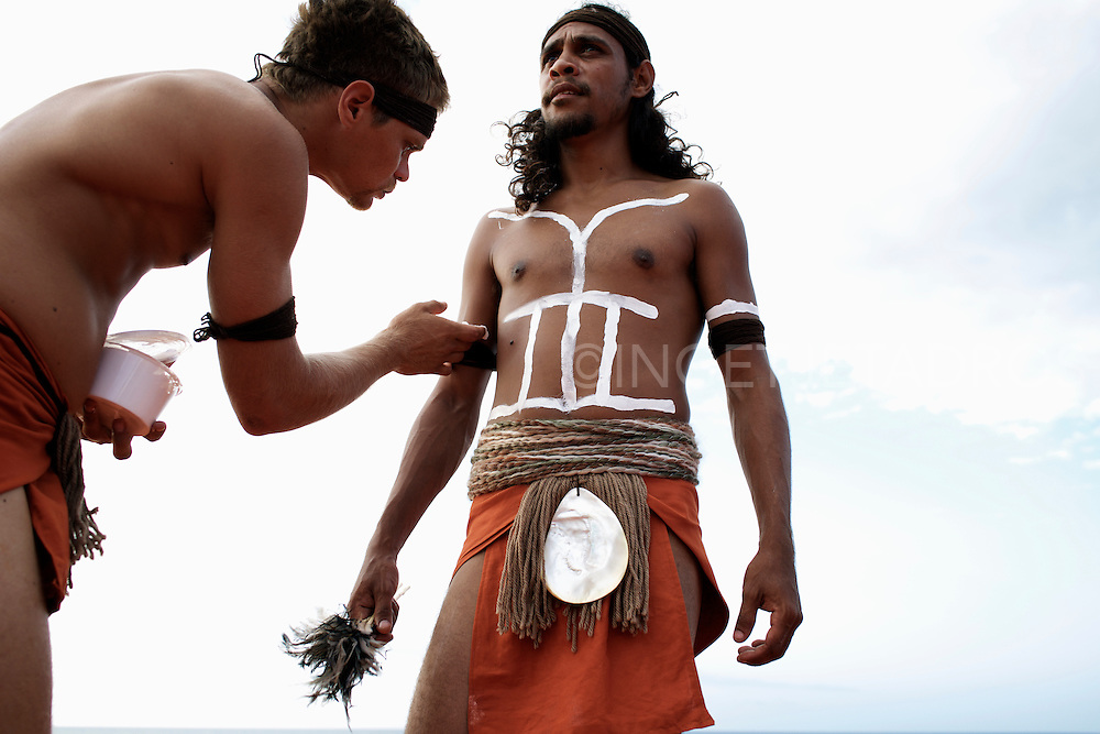 """""""It feels great, the markings that's been put on your body, it tells who you are and if you are married or single."""" There are so many different markings. Aaron Ozies and Thorval (L-R). Broome, Western Australia."""