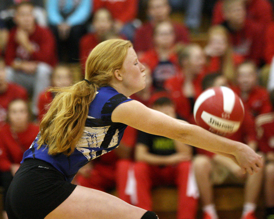 Gowanda's Taylor Olson bumps a volley during volleyball action against Southwestern 11-2-15 photo by Mark L Anderson