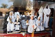 Bur Dubai. Heritage Village. Sheik puppets at souvenir shop.