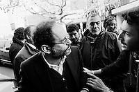 """PALERMO,  ITALY - 9 FEBRUARY 2013: Candidates for the Parliament and former antimafia magistrates Antonio Ingroia (54, Civil Revolution) and Pietro Grasso (68 Democratic Party), meet for the first time since the beginning of the campaign and after the controversy between their candidacy, during a debate organized by Addio Pizzo in Palermo, Italy, on February 9, 2013.<br /> <br /> A general election to determine the 630 members of the Chamber of Deputies and the 315 elective members of the Senate, the two houses of the Italian parliament, will take place on 24–25 February 2013. The main candidates running for Prime Minister are Pierluigi Bersani (leader of the centre-left coalition """"Italy. Common Good""""), former PM Mario Monti (leader of the centrist coalition """"With Monti for Italy"""") and former PM Silvio Berlusconi (leader of the centre-right coalition).<br /> <br /> ###<br /> <br /> PALERMO, ITALIA - 9 FEBBRAIO 2013: I candidati per il parlamento ed ex-magistrati Antonio Ingroia (54 anni, Rivoluzione Civile) e Pietro Grasso (68 anni, Partito Democratico), si incontrano per la prima volta dall'inizio della campagna elettorale dopo la polemica scoppiata tra i due, ad un dibattito organizzato da Addio Pizzo a Palermo, il 9 febbraio 2013.<br /> Le elezioni politiche italiane del 2013 per il rinnovo dei due rami del Parlamento italiano – la Camera dei deputati e il Senato della Repubblica – si terranno domenica 24 e lunedì 25 febbraio 2013 a seguito dello scioglimento anticipato delle Camere avvenuto il 22 dicembre 2012, quattro mesi prima della conclusione naturale della XVI Legislatura. I principali candidate per la Presidenza del Consiglio sono Pierluigi Bersani (leader della coalizione di centro-sinistra """"Italia. Bene Comune""""), il premier uscente Mario Monti (leader della coalizione di centro """"Con Monti per l'Italia"""") e l'ex-premier Silvio Berlusconi (leader della coalizione di centro-destra)."""