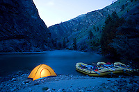 Tent camping while rafting the Middle Fork of the Salmon River, ID.
