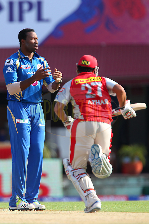Kieron Pollard reacts after bowling during match 69 of the Pepsi Indian Premier League between The Kings XI Punjab and the Mumbai Indians held at the HPCA Stadium in Dharamsala, Himachal Pradesh, India on the on the 18th May 2013..Photo by Ron Gaunt-IPL-SPORTZPICS ..Use of this image is subject to the terms and conditions as outlined by the BCCI. These terms can be found by following this link:..http://www.sportzpics.co.za/image/I0000SoRagM2cIEc