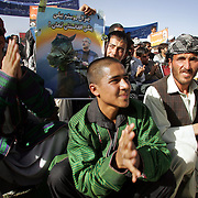 06 October 2004&#xD;&#xA;Kabul, Afghanistan.&#xD;&#xA;Afghanistan's Pesidential Election Campaign.&#xD;&#xA;&#xD;&#xA;&#xD;&#xA;General Abdul Rashid Dostrum, a candidate in Saturday's presidential elections in Afghanistan attempted to build local support at a rally in Kabul's huge stadium.<br />