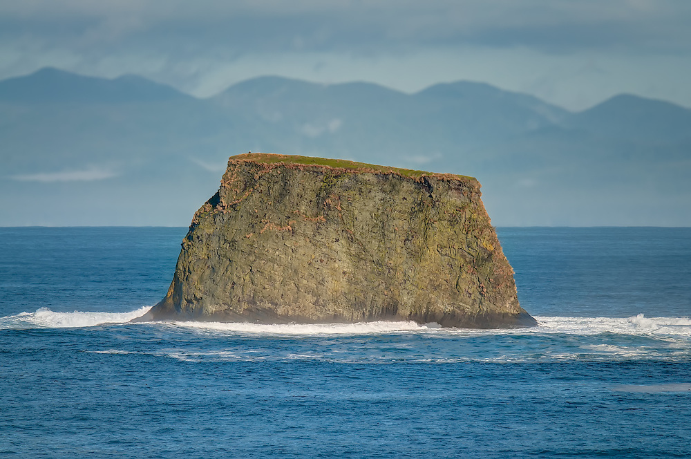 Snail Rock with a lone bald eagle perched on top on the Makah Indian Reservation near Neah Bay, Washington. This huge rock stands in the Strait of Juan de Fuca which separates Washington State from British Columbia, Canada (which you can clearly see in the background). When the tide is lower, more exposed rock on either side of it (where the surf is) makes it look like a giant snail!