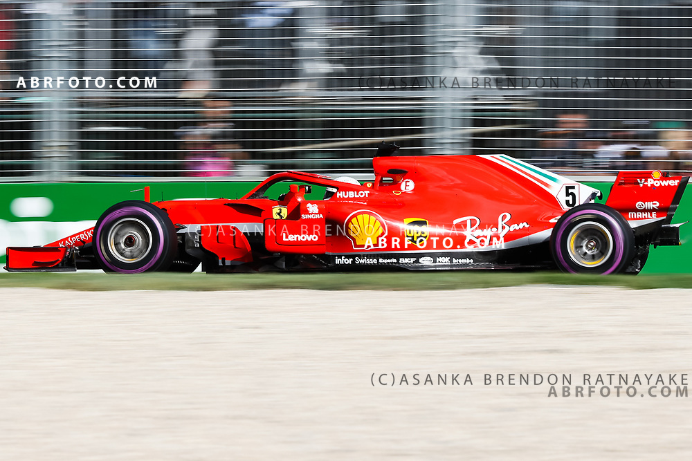 Ferrari driver Sebastian Vettel of Germany during the 2018 Rolex Formula 1 Australian Grand Prix at Albert Park, Melbourne, Australia, March 24, 2018.  Asanka Brendon Ratnayake