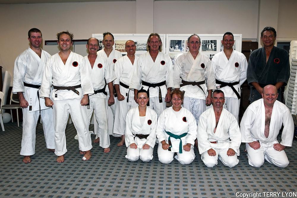 After the Grading at Cottesloe Dojo,Photographs taken from 1985 to 2009 at various Dojo of Sensei Terry Lyon 5th Dan, Training sessions, Gasshuku with Sensei Graham Ravey 7th Dan,Sensei Morio Higaonna 10th Dan, Cottesloe Dojo.