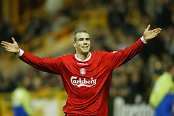 WOLVERHAMPTON, ENGLAND - Wednesday, January 21st, 2004: Liverpool's Bruno Cheyrou celebrates scoring the first goal against Wolverhampton Wanderers during the Premiership match at Molineux. (Pic by David Rawcliffe/Propaganda)