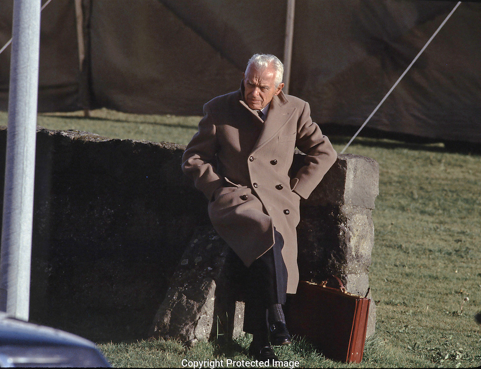 Reagan advisor Paul Nitze takes a break at the summit between President Reagan and Soviet leader Mikhail Gorbachev in Reykjavik, Iceland on October 12, 1986..Photo by Dennis Brack BSB 18