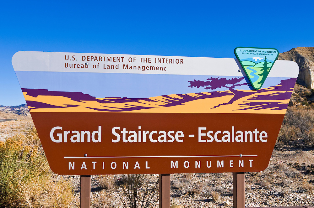 Entrance sign at Grand Staircase-Escalante National Monument, Utah