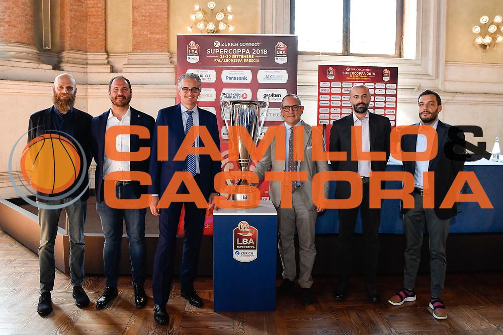 cancellieri diana  roccaforte bianchi buscaglia  galbiati<br /> presentazioe supercoppa 2018<br /> Legabasket Serie A 2018/19<br /> Brescia, 24/09/2018<br /> Ciamillo-Castoria