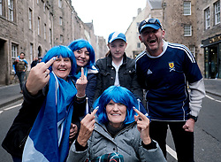 All Under One Banner March, Edinburgh, 5 October 2019<br /> <br /> Pictured: Marchers make their way to the start past the Parliament<br /> <br /> Alex Todd | Edinburgh Elite media