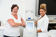 EXCLUSIVE<br /> White Dee has Lipoglaze Treatment at Harley St Clinic<br /> <br /> White Dee arrives at Lovelite Clinic, Harley St were Dee was given , Lipoglaze is a revolutionary non-surgical fat reduction treatment which literally kills off fat cells in one 50-minute session.<br /> The treatment targets fatty areas in the tummy, arms, legs, and thighs with fast results, no scaring and no pain<br /> The brand new treatment from the USA is available in the UK for the first time and is being launched by leading beauty spa treatments company LoveLite.<br /> The Lipoglaze Cryo-Lipo machine works by first gently heating and then rapidly cooling the target area. This causes the fat cells to crystallise and permanently destroys up to a third of fatty deposits per session. The body then naturally eliminates this waste tissue over the next few weeks.<br /> <br /> Photo shows: Dee with Jourdan before treatment at  LoveLite offices in Harley St.<br /> ©Exclusivepix