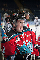 KELOWNA, CANADA - NOVEMBER 5: Jesse Lees #2 of Kelowna Rockets stands at the bench during warm up against the Victoria Royals on November 5, 2014 at Prospera Place in Kelowna, British Columbia, Canada.  (Photo by Marissa Baecker/Shoot the Breeze)  *** Local Caption *** Jesse Lees;