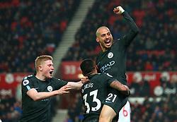 David Silva of Manchester City celebrates scoring a goal to make it 2-0 - Mandatory by-line: Robbie Stephenson/JMP - 12/03/2018 - FOOTBALL - Bet365 Stadium - Stoke-on-Trent, England - Stoke City v Manchester City - Premier League