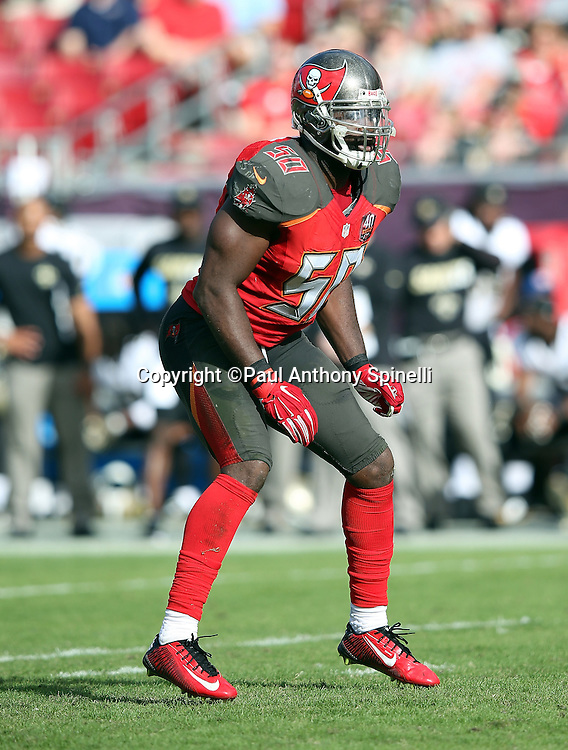 Tampa Bay Buccaneers linebacker Bruce Carter (50) makes a move during the 2015 week 14 regular season NFL football game against the New Orleans Saints on Sunday, Dec. 13, 2015 in Tampa, Fla. The Saints won the game 24-17. (©Paul Anthony Spinelli)