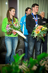 Tina Maze of Slovenia, 2-times gold winner, Andrea Massi, Ivica Kostelic of Croatia, silver medallist and his father Ante Kostelic during reception at arrival from Sochi Winter Olympic Games 2014 on February 23, 2014 in Airport Zagreb, Croatia. Photo by Vid Ponikvar / Sportida