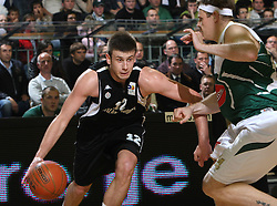 Novica Velickovic and Miha Zupan during second semi-final match of Basketball NLB League at Final four tournament between KK Partizan Igokea, Beograd, Serbia and Union Olimpija, Ljubljana, Slovenia, on April 25, 2008, in Arena Tivoli in Ljubljana. Match was won by Partizan 94:90. (Photo by Vid Ponikvar / Sportal Images)