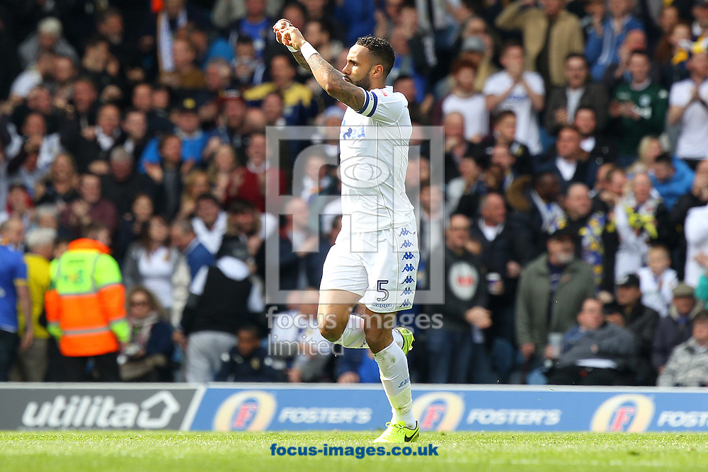 Kyle Bartley of Leeds United celebrates scoring his sides 2nd goal during the Sky Bet Championship match at Elland Road, Leeds<br /> Picture by Paul Chesterton/Focus Images Ltd +44 7904 640267<br /> 29/04/2017