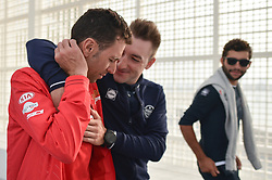 February 23, 2019 - Abu Dhabi, United Arab Emirates - (Left-Right) Vincenzo Nibali of Italy and Elia Viviani of Italy and Team Deceuninck-QuickStep, jokking together at the end of the Top Riders Photo session inside the Louvre Abu Dhabi Museum..On Saturday, February 23, 2019, Abu Dhabi, United Arab Emirates. (Credit Image: © Artur Widak/NurPhoto via ZUMA Press)
