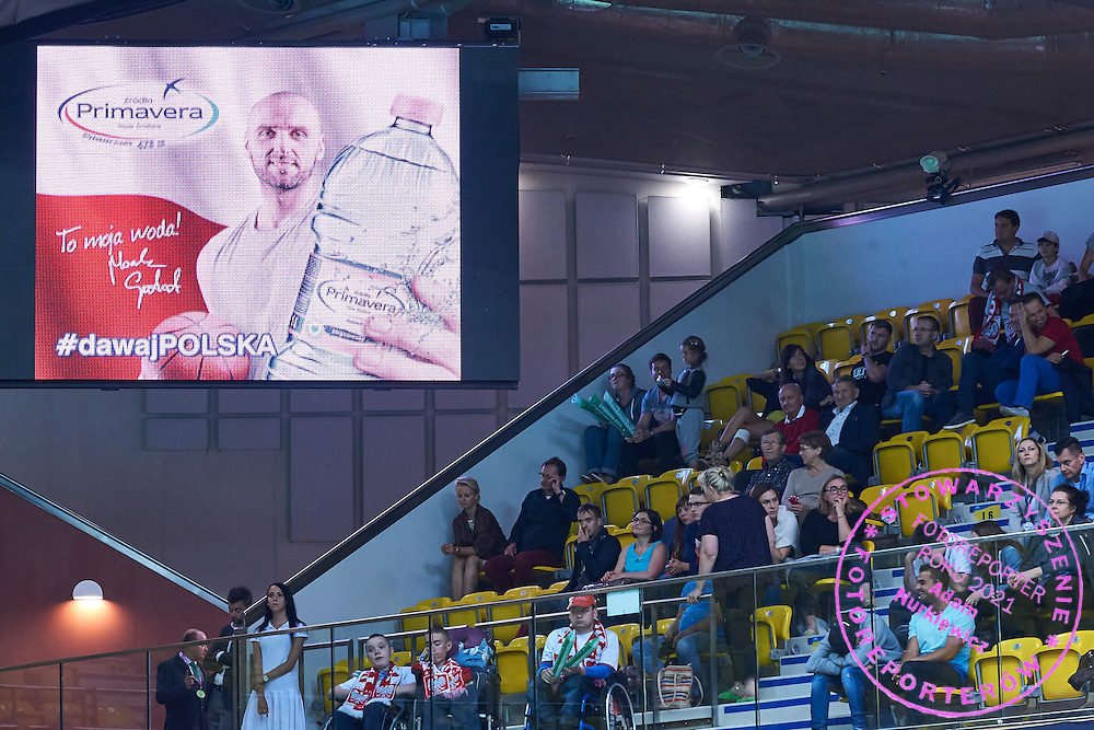 Primavera advertise on display board during Davis Cup Tie World Group Play-off Poland v Slovakia at Gdynia Arena Hall in Gdynia, Poland.<br /> <br /> Poland, Gdynia, September 18, 2015<br /> <br /> Picture also available in RAW (NEF) or TIFF format on special request.<br /> <br /> For editorial use only. Any commercial or promotional use requires permission.<br /> <br /> Adam Nurkiewicz declares that he has no rights to the image of people at the photographs of his authorship.<br /> <br /> Mandatory credit:<br /> Photo by &copy; Adam Nurkiewicz / Mediasport