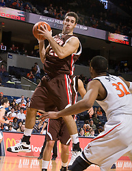 Brown forward Peter Sullivan (25) grabs a rebound in action against UVA.  The Virginia Cavaliers defeated the Brown University Bears 74-50 in NCAA Basketball at the John Paul Jones Arena on the Grounds of the University of Virginia in Charlottesville, VA on January 6, 2009.