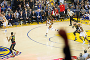 Golden State Warriors forward Andre Iguodala (9) dribbles down court against the Atlanta Hawks at Oracle Arena in Oakland, Calif., on November 28, 2016. (Stan Olszewski/Special to S.F. Examiner)