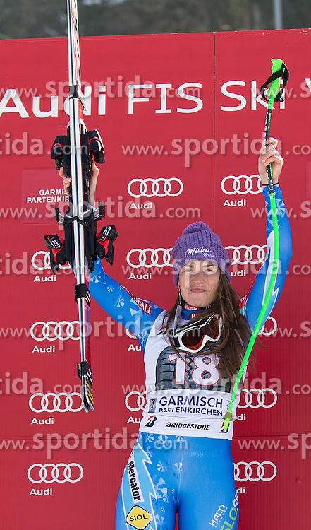02.03.2013, Kandahar, Garmisch Partenkirchen, GER, FIS Weltcup Ski Alpin, Abfahrt, Damen, Podium, im Bild Tina Maze (SLO, 1. Platz) // 1st place Tina Maze of Slovenia celebrate on Podium during the ladies Downhill of the FIS Ski Alpine World Cup at the Kandahar course, Garmisch Partenkirchen, Germany on 2013/03/02. EXPA Pictures © 2013, PhotoCredit: EXPA/ Johann Groder