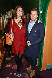 LALIE JACOUT and ANDREW NAYLOR at a party to celebrate Alice Naylor-Leyland's Collaboration with French Sole held at Annabel's, 44 Berkeley Square, London on February 2nd 2016