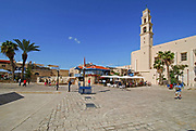 Israel, Jaffa, the belfry of the St. Peter church and Monastery on blue sky background