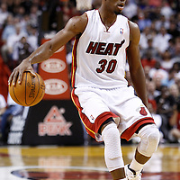 24 January 2012: Miami Heat point guard Norris Cole (30) brings the ball up court during the Miami Heat 92-85 victory over the Cleveland Cavaliers at the AmericanAirlines Arena, Miami, Florida, USA.