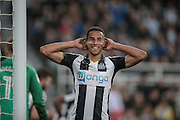 Isaac Hayden (Newcastle United) holds his head and smiles having missed the opportunity to increase Newcastle's lead during the EFL Cup 4th round match between Newcastle United and Preston North End at St. James's Park, Newcastle, England on 25 October 2016. Photo by Mark P Doherty.